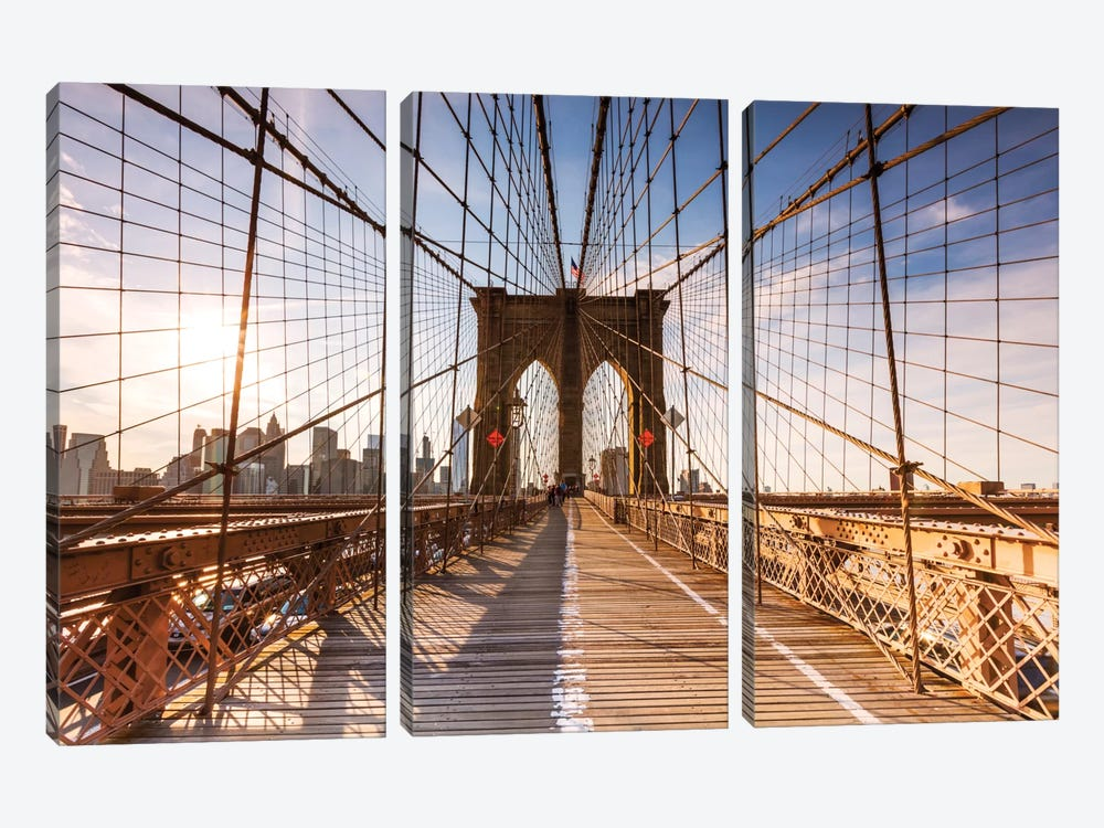 Brooklyn Bridge At Sunset, New York City, New York, USA 3-piece Canvas Art Print