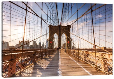 Brooklyn Bridge At Sunset, New York City, New York, USA Canvas Art Print