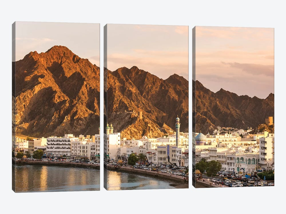 Muscat Town At Sunset, Oman by Matteo Colombo 3-piece Canvas Artwork