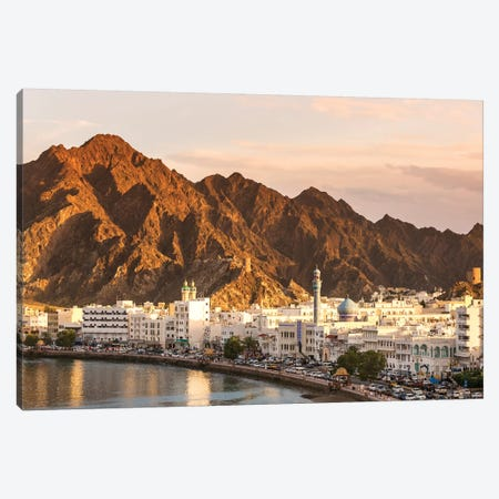 Muscat Town At Sunset, Oman Canvas Print #TEO227} by Matteo Colombo Canvas Print