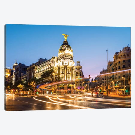 Night In Madrid, Spain Canvas Print #TEO228} by Matteo Colombo Canvas Wall Art
