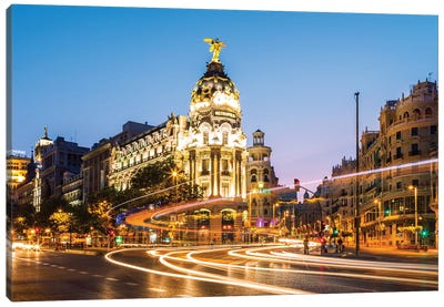 Night In Madrid, Spain Canvas Art Print