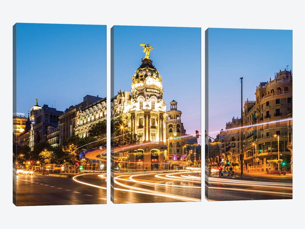 Night In Madrid, Spain by Matteo Colombo 3-piece Canvas Art Print