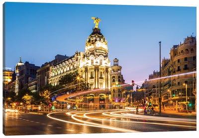 Night In Madrid, Spain Canvas Art Print