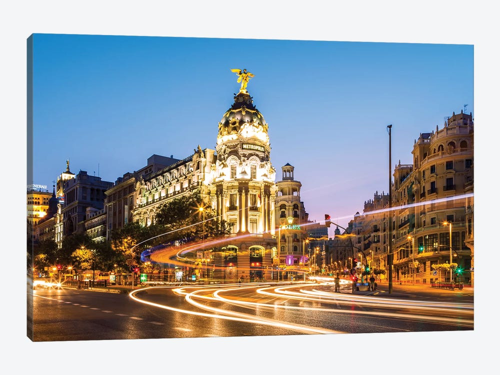 Night In Madrid, Spain 1-piece Canvas Art Print