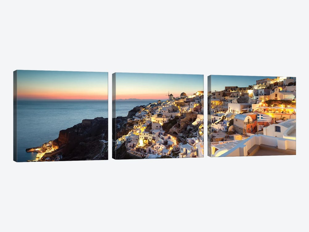 Oia At Sunset, Santorini, Greece by Matteo Colombo 3-piece Canvas Artwork