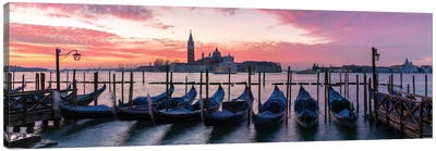 Panoramic Of Gondolas, Venice Canvas Art Print