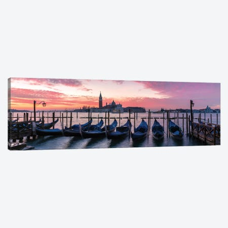 Panoramic Of Gondolas, Venice Canvas Print #TEO233} by Matteo Colombo Canvas Art Print