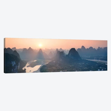 Panoramic Sunset Over Li River, China Canvas Print #TEO234} by Matteo Colombo Canvas Wall Art