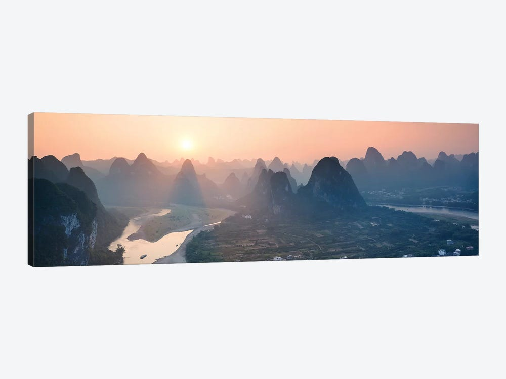 Panoramic Sunset Over Li River, China by Matteo Colombo 1-piece Canvas Wall Art