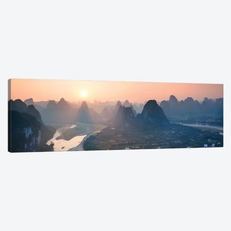 Panoramic Sunset Over Li River, China Canvas Print #TEO234} by Matteo Colombo Canvas Wall Art
