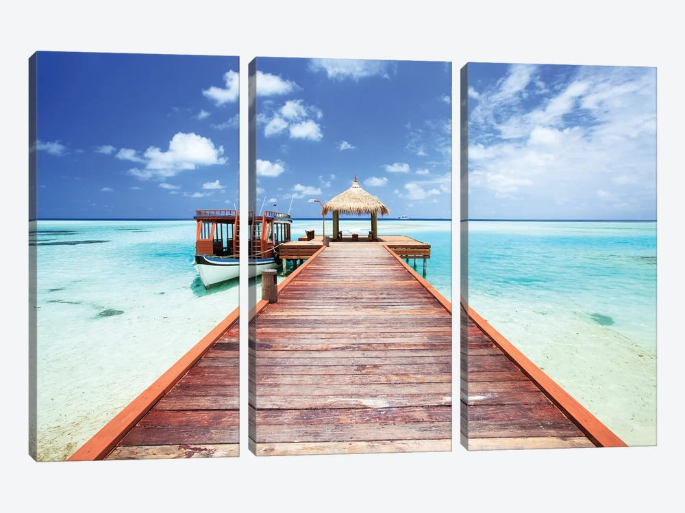 Pier To Tropical Sea In The Maldives by Matteo Colombo 3-piece Canvas Art