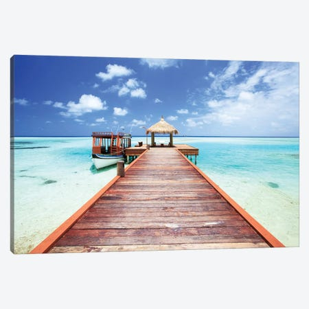 Pier To Tropical Sea In The Maldives Canvas Print #TEO236} by Matteo Colombo Canvas Wall Art