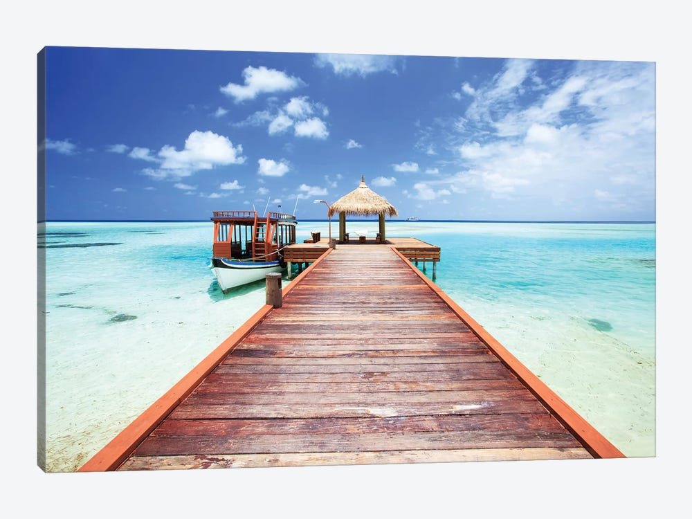 Pier To Tropical Sea In The Maldives by Matteo Colombo 1-piece Canvas Wall Art