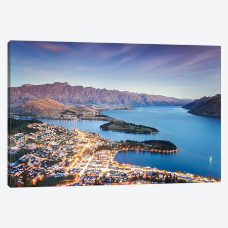 Queenstown At Dusk, New Zealand Canvas Print #TEO238} by Matteo Colombo Art Print