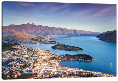 Queenstown At Dusk, New Zealand Canvas Art Print