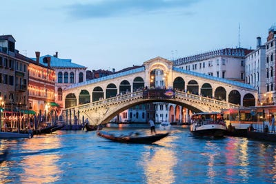 Rialto Bridge At Night, Venice Canvas Wall Art by Matteo Colombo ...
