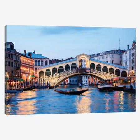 Rialto Bridge At Night, Venice Canvas Print #TEO239} by Matteo Colombo Canvas Print