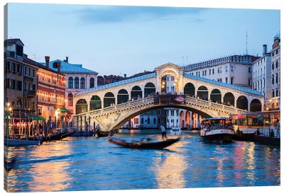 Rialto Bridge At Night, Venice Canvas Art Print