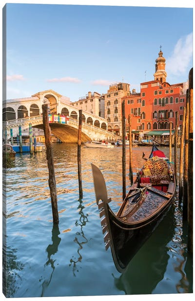 Rialto Bridge At Sunset, Venice Canvas Art Print