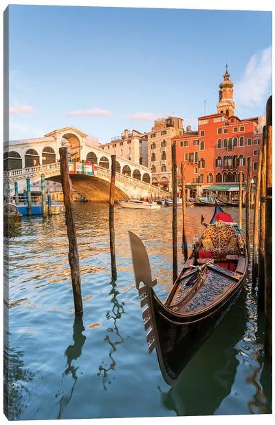 Rialto Bridge At Sunset, Venice Canvas Art Print