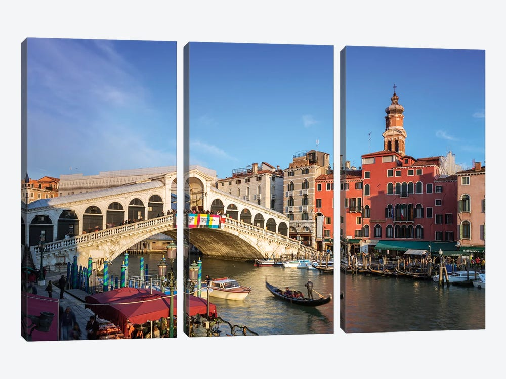 Rialto Bridge On The Grand Canal, Venice by Matteo Colombo 3-piece Canvas Wall Art