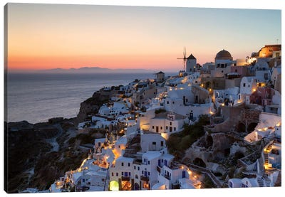 Romantic Sunset In Santorini Canvas Art Print