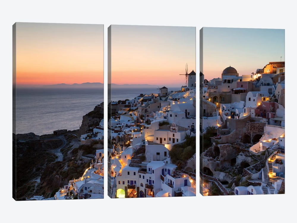 Romantic Sunset In Santorini by Matteo Colombo 3-piece Canvas Print