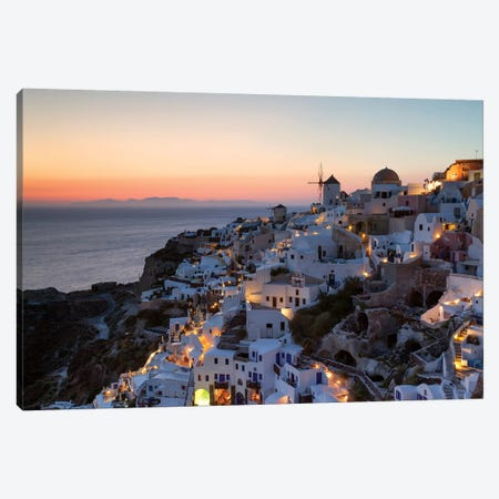 Romantic Sunset In Santorini 3-Piece Canvas #TEO244} by Matteo Colombo Canvas Art Print