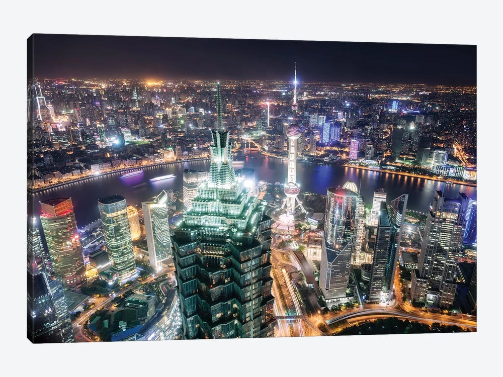 Shanghai City At Night, China by Matteo Colombo 1-piece Canvas Art