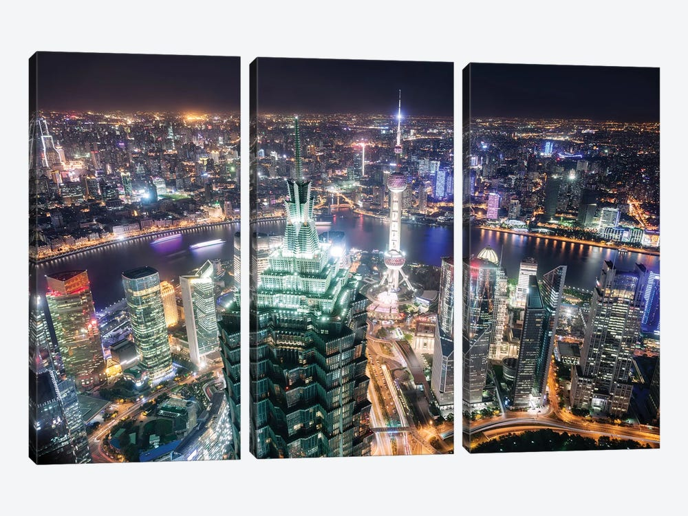 Shanghai City At Night, China by Matteo Colombo 3-piece Canvas Wall Art