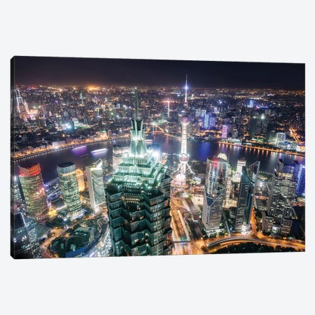 Shanghai City At Night, China Canvas Print #TEO250} by Matteo Colombo Canvas Print