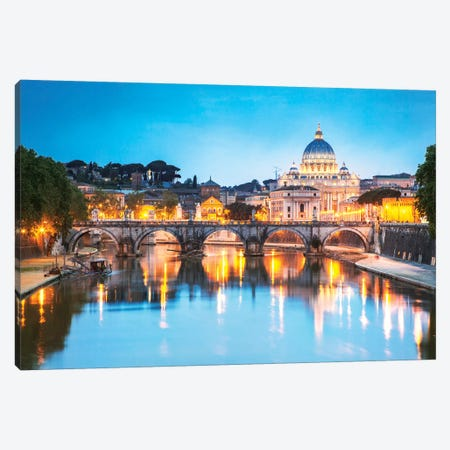 St Peter's Basilica And Tevere River, Rome Canvas Print #TEO253} by Matteo Colombo Canvas Print