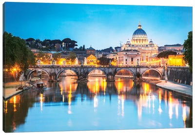 St Peter's Basilica And Tevere River, Rome Canvas Art Print