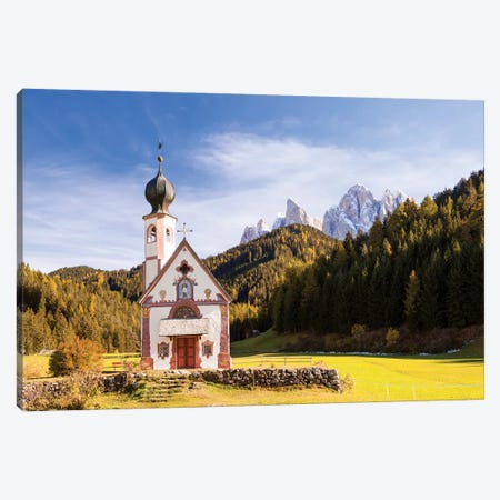St. Johann Church In The Dolomites Canvas Print #TEO254} by Matteo Colombo Canvas Artwork