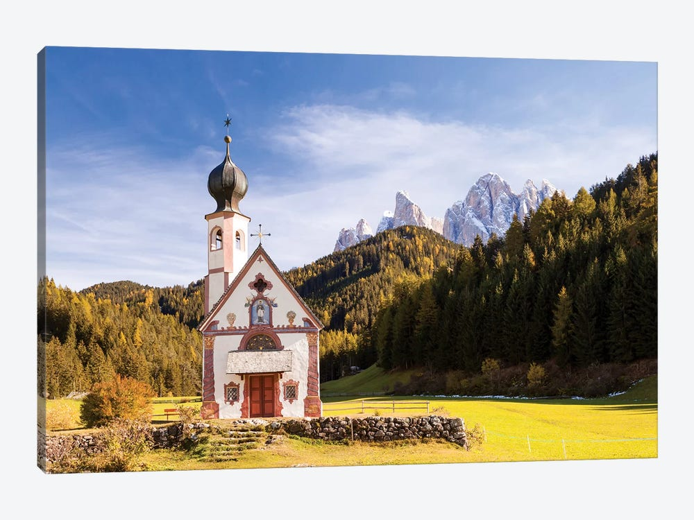 St. Johann Church In The Dolomites by Matteo Colombo 1-piece Canvas Wall Art