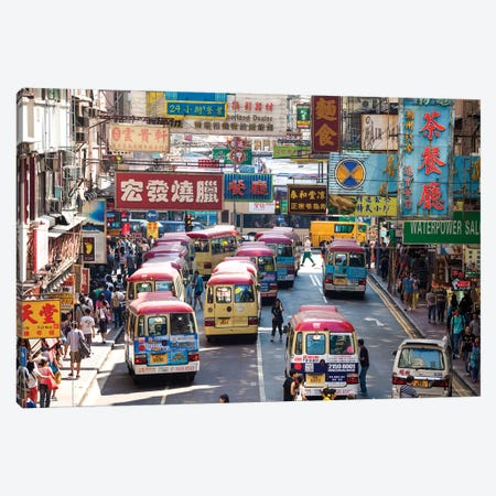 Street Scene In Hong Kong Canvas Print #TEO255} by Matteo Colombo Canvas Artwork