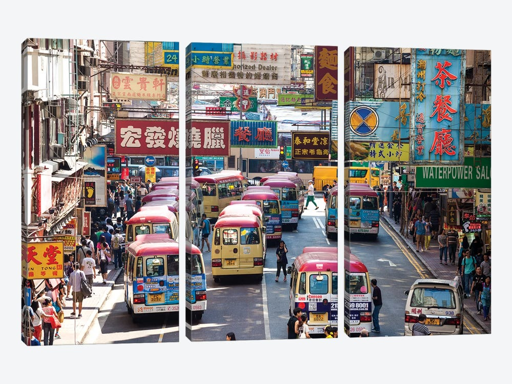 Street Scene In Hong Kong by Matteo Colombo 3-piece Canvas Art Print