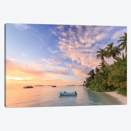 Sunrise Over Beach In The Maldives Canvas Print #TEO256} by Matteo Colombo Canvas Wall Art