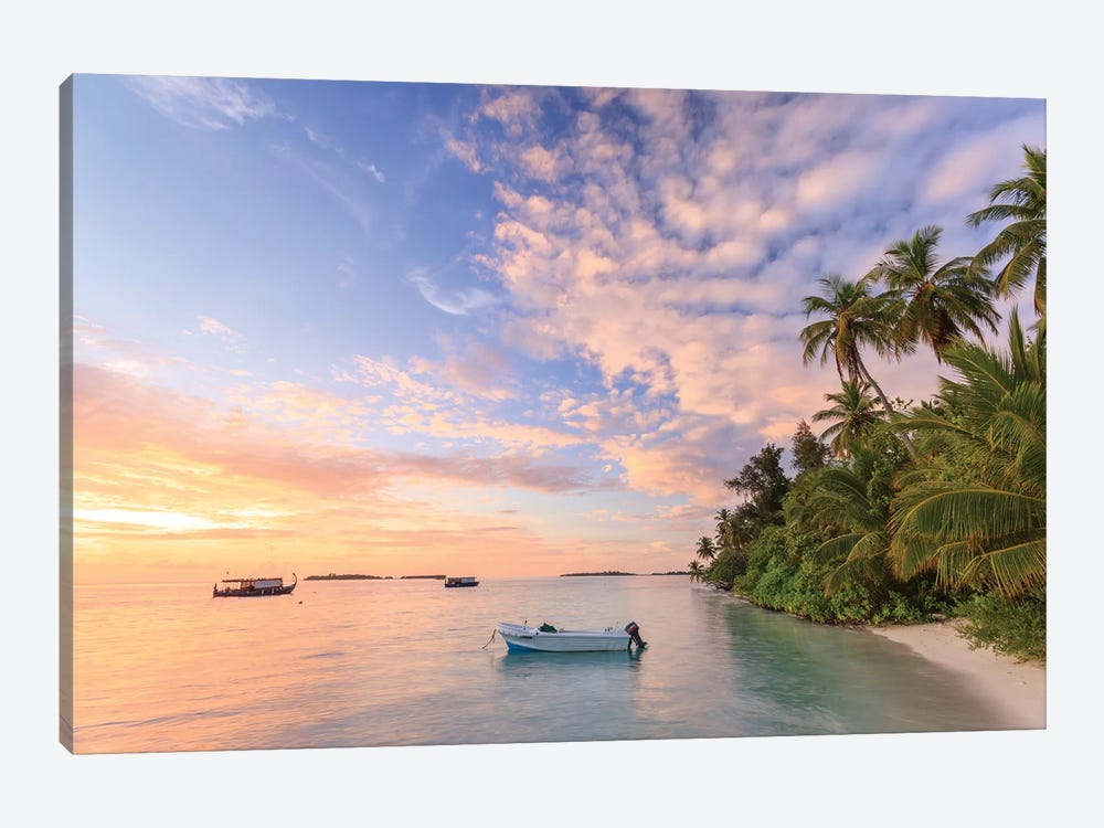 Sunrise Over Beach In The Maldives by Matteo Colombo 1-piece Canvas Artwork