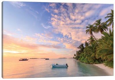 Sunrise Over Beach In The Maldives Canvas Art Print