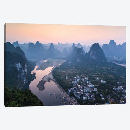 Sunset Over Li River, China Canvas Print #TEO261} by Matteo Colombo Canvas Art