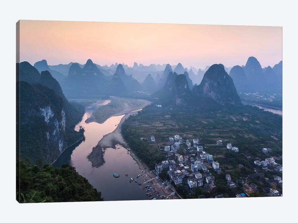 Sunset Over Li River, China by Matteo Colombo 1-piece Canvas Artwork