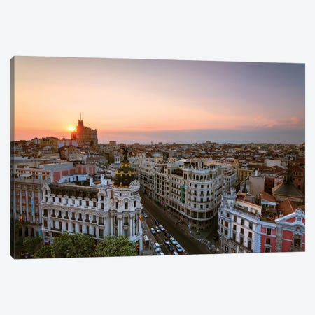 Sunset Over Madrid, Spain Canvas Print #TEO262} by Matteo Colombo Canvas Wall Art