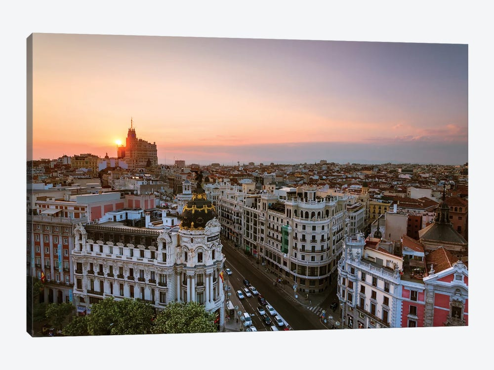 Sunset Over Madrid, Spain by Matteo Colombo 1-piece Canvas Print