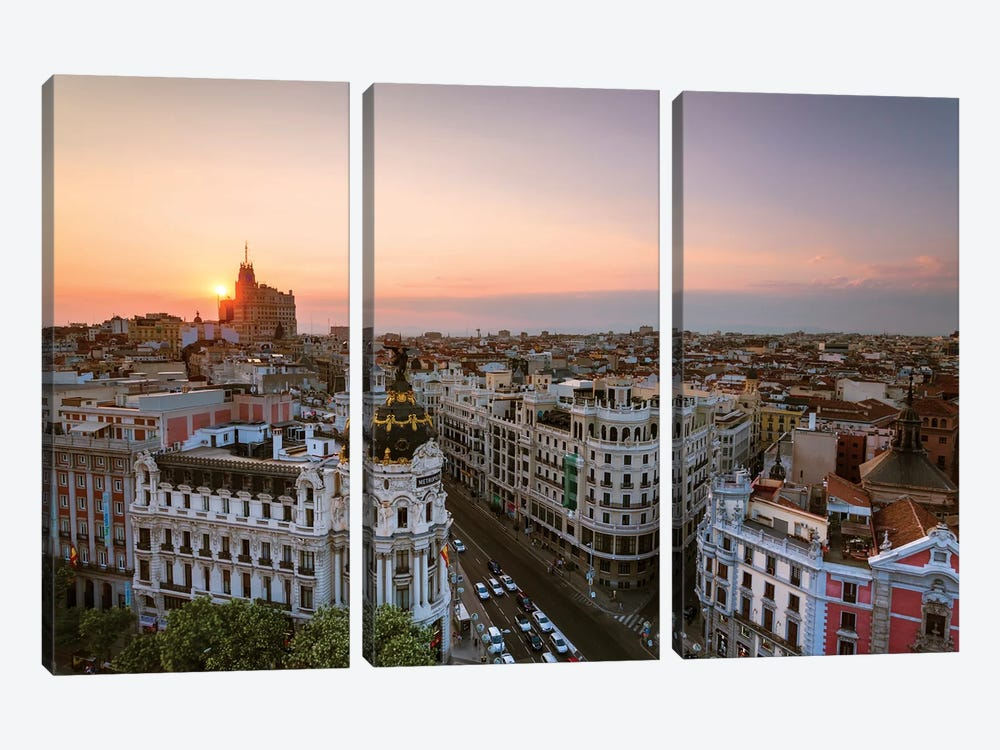 Sunset Over Madrid, Spain by Matteo Colombo 3-piece Canvas Print