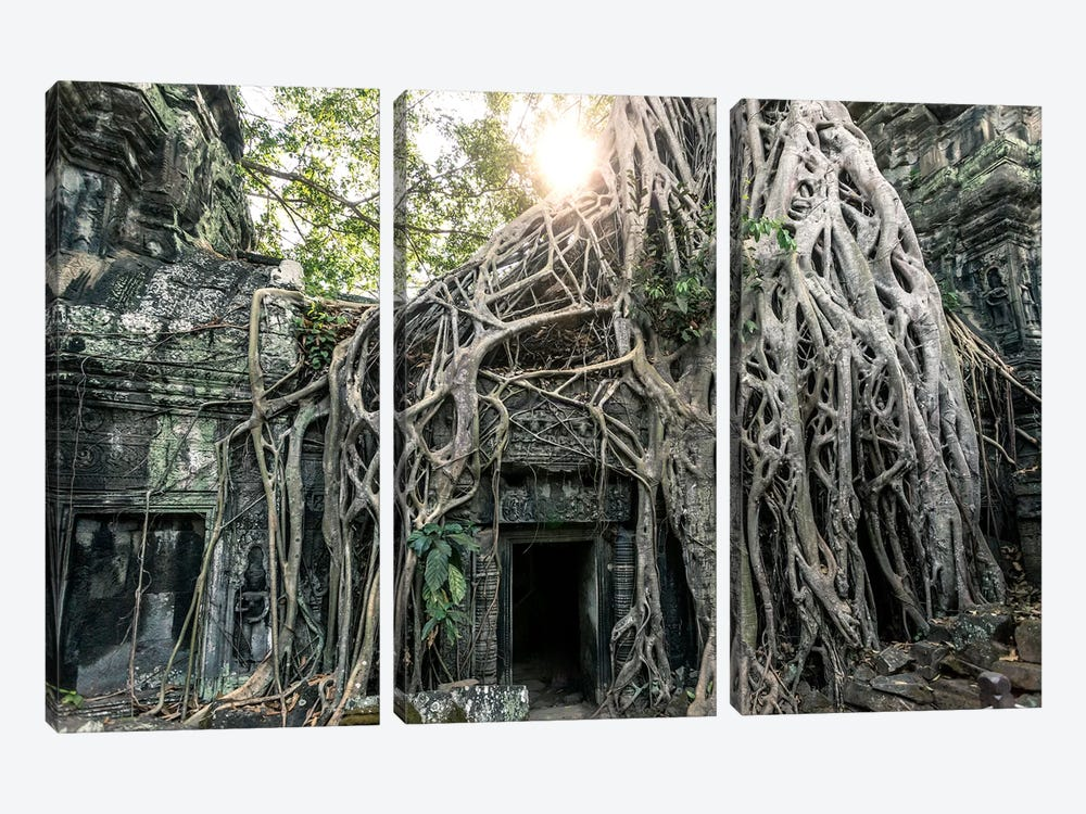 Temple In The Jungle, Angkor Wat, Cambodia by Matteo Colombo 3-piece Canvas Print