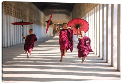 Three Monks Running, Burma Canvas Art Print