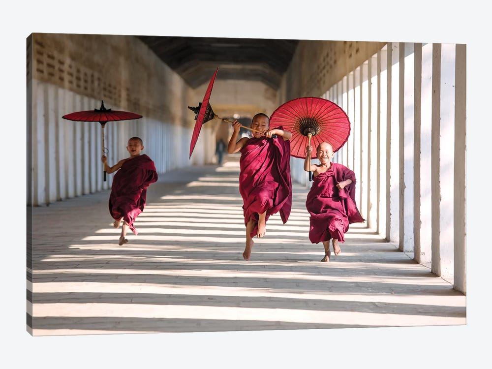 Three Monks Running, Burma by Matteo Colombo 1-piece Canvas Print