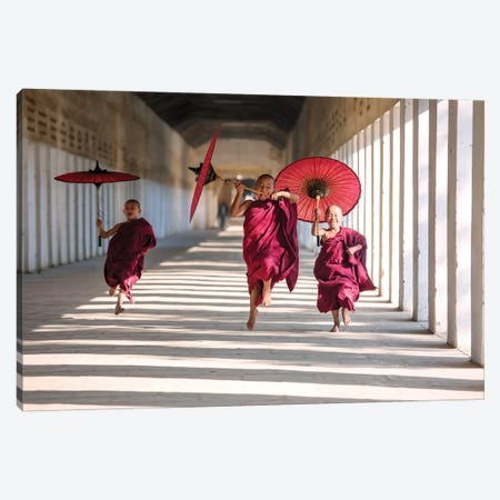 Three Monks Running, Burma 3-Piece Canvas #TEO266} by Matteo Colombo Canvas Print